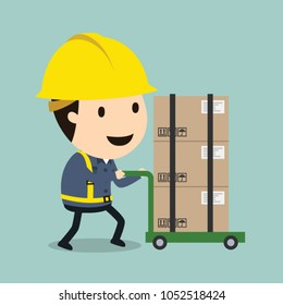 Transportation work, Vector illustration, Safety and accident, Industrial safety cartoon
