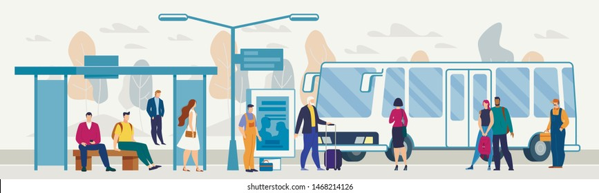 Transporting City Passengers with Bus, Modern Metropolis Public Transport System Flat Vector. Various Male, Female Characters with Baggage Waiting Bus on Outdoor Stop or Station Platform Illustration