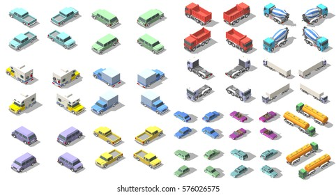 transports set isometric icon vector graphic illustration design for infographic
