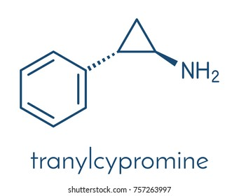 Tranylcypromine antidepressant and anxiolytic drug molecule. Irreversible inhibitor of the enzyme monoamine oxidase (MAO). Skeletal formula.