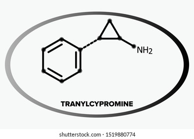 TRANYLCYPROMINE molecule, chemical skeletal line formula in a oval circle
