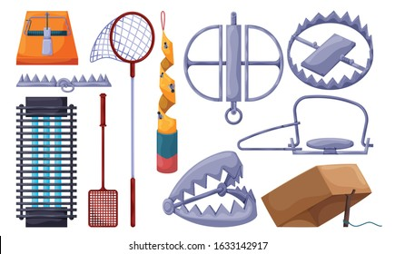 Trap for animal vector illustration on white background . Metal pitfall isolated cartoon set icon. Vector cartoon set icon trap for animal.
