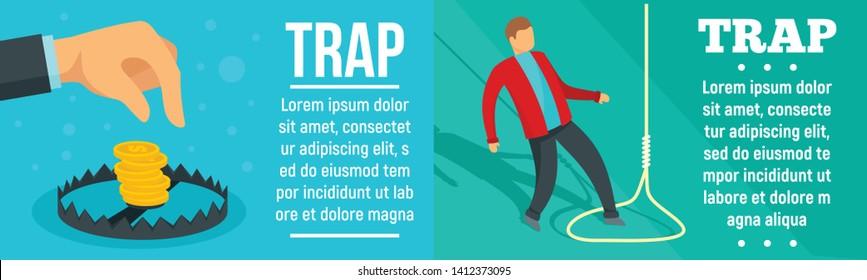 Trap banner set. Flat illustration of trap vector banner set for web design