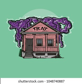 Trap House  hand-drawn illustration