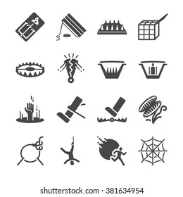 Trap icons set. Included the icons as mousetrap, booby trap, cage, catcher, bait, hole and more.