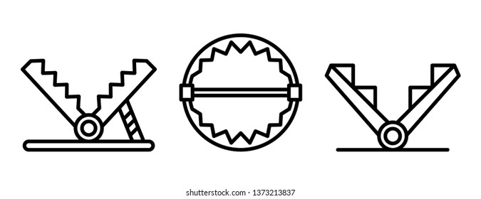 Trap icons set. Outline set of trap vector icons for web design isolated on white background