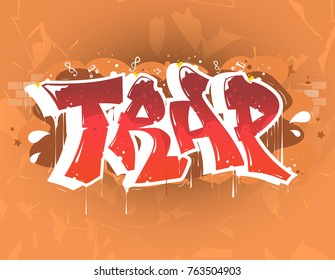 trap music party illustration in graffiti style, lettering logo, vector.Typography for poster,t-shirt or stickers