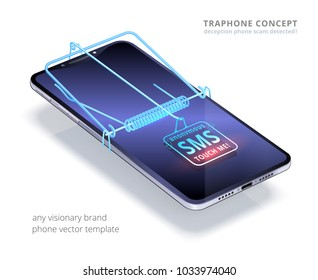 Trap phone concept. Combination of the visionary smartphone and virtual mouse trap. SMS button is like a bait. Metaphor about deception phone scam. 3d realistic device floating over white background.