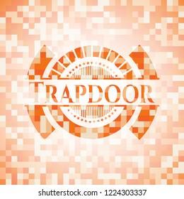 Trapdoor abstract emblem, orange mosaic background