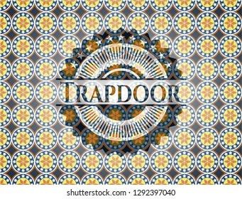 Trapdoor arabesque emblem background. arabic decoration.