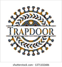 Trapdoor arabesque style badge. arabic decoration.