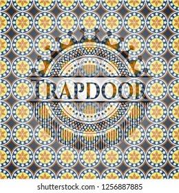 Trapdoor arabesque style emblem. arabic decoration.