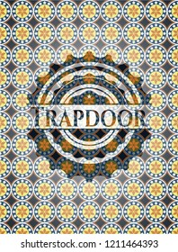 Trapdoor arabic emblem. Arabesque decoration.