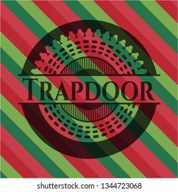 Trapdoor christmas colors emblem.