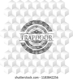 Trapdoor grey badge with geometric cube white background