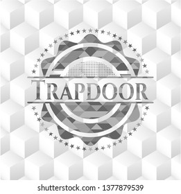 Trapdoor grey emblem with cube white background