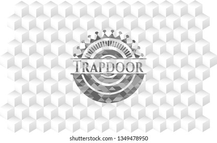 Trapdoor grey emblem with geometric cube white background