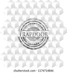 Trapdoor grey emblem. Retro with geometric cube white background