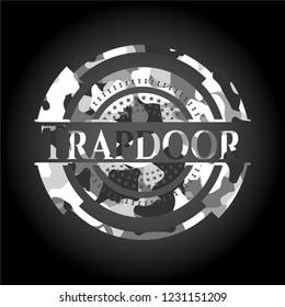Trapdoor on grey camo texture