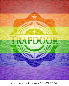 Trapdoor on mosaic background with the colors of the LGBT flag