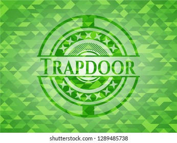 Trapdoor realistic green emblem. Mosaic background