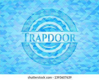 Trapdoor realistic light blue mosaic emblem