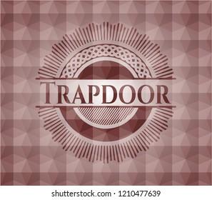 Trapdoor red seamless geometric badge.