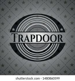 Trapdoor retro style black emblem. Vector Illustration. Detailed.