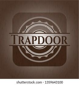 Trapdoor retro style wooden emblem