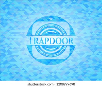 Trapdoor sky blue emblem with triangle mosaic background