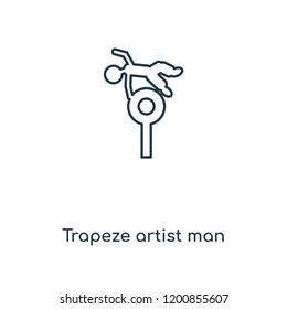 Trapeze artist man concept line icon. Linear Trapeze artist man concept outline symbol design. This simple element illustration can be used for web and mobile UI/UX.