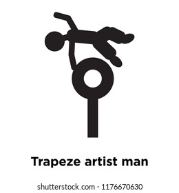 Trapeze artist man icon vector isolated on white background, logo concept of Trapeze artist man sign on transparent background, filled black symbol