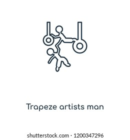 Trapeze artists man concept line icon. Linear Trapeze artists man concept outline symbol design. This simple element illustration can be used for web and mobile UI/UX.