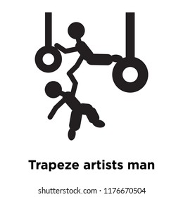 Trapeze artists man icon vector isolated on white background, logo concept of Trapeze artists man sign on transparent background, filled black symbol