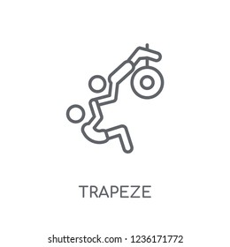 trapeze linear icon. Modern outline trapeze logo concept on white background from Circus collection. Suitable for use on web apps, mobile apps and print media.