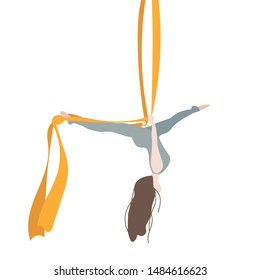 Trapeze Yoga Workout. The girl hangs on the trapeze upside down. In a cute cartoon style. Vector illustration.
