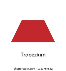 Trapezium in cartoon style, card with geometric shape for kid, preschool activity for children, vector illustration