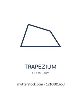 Trapezium icon. Trapezium linear symbol design from Geometry collection. Simple outline element vector illustration on white background.