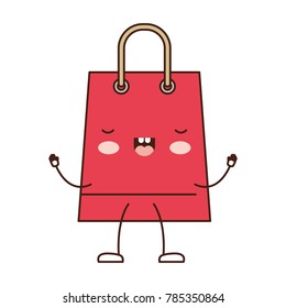 trapezoid animated kawaii shopping bag icon with handle in colorful silhouette