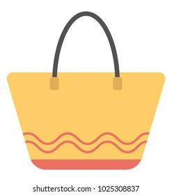 Trapezoid bag. Yellow trapezoid bag, flat vector icon