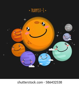Trappist-1 system cute vector illustration