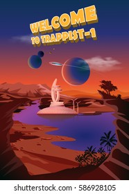 Trappist-1 system. Exoplanets. Space landscape, the colonization of the planets. Vector illustration