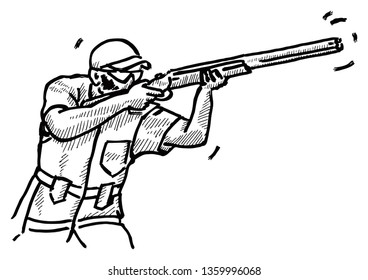 A trap-shooter holding a shotgun in a shooting competition. Hand drawn vector illustration.