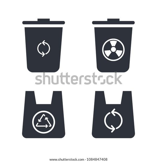 trash bag and trash can icon vector set