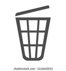 Trash bin with cover. Wastebasket icon. Vector.