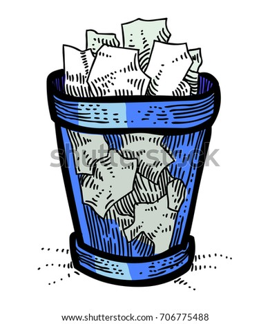 trash bin freehand picture artistic drawing stock vector royalty