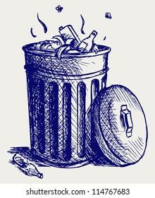 Trash bin full of garbage. Doodle style