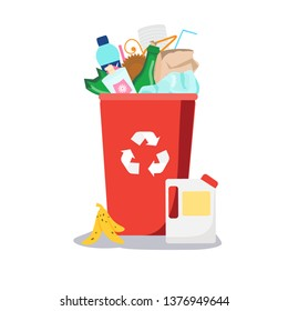 Trash bin. Garbage can with different waste inside. Plastic, paper, glass and other household rubbish. Vector illustration