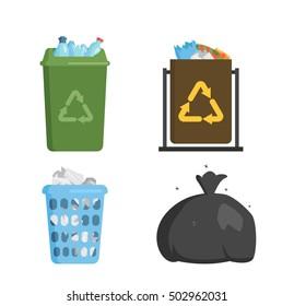 Trash bin garbage container and trash bin recycle symbol vector