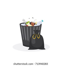 Trash bin garbage container vector illustration in cartoon style